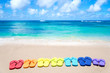 Color flip flops by the ocean - 65536039