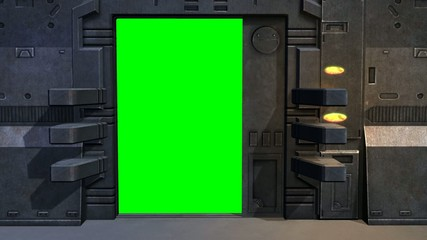 Spaceship Spacestation Door open Close - green screen