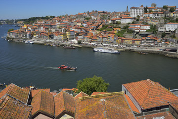 Douro river side and Porto city view (Portugal)