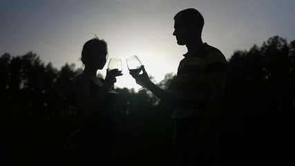 Young couple kissing and drinking wine, slow motion video.