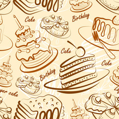 Cake seamless pattern background vector ,illustration