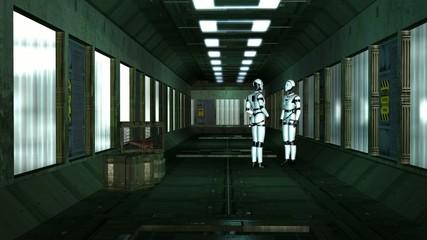I Robots in a Spaceship Corridor - Video Background