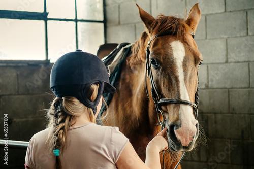 Keuken foto achterwand Paarden Horse and girl