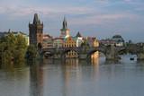 View on Charles Bridge at sunset, Prague