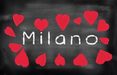 Milan written on a used blackboard and surrounded by chalk drawi