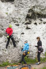 Female climbers, active women.