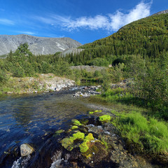 Risjok river in Khibiny Mountains, Russia