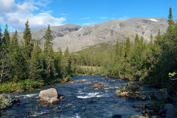 Khibiny Mountains with Kunijok river and Northern Chorrgor Pass