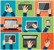 Vector set of flat hand icons holding various hi-tech computer a