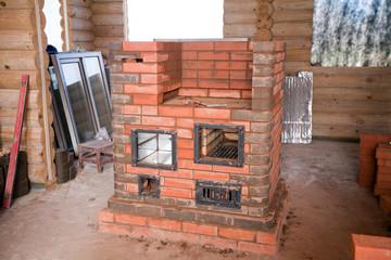 half unfinished brick stove