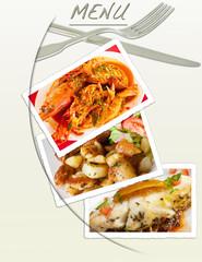 menu avec photos et couverts