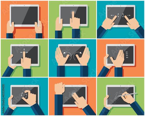 Set of flat hand gestures for tablets or smartphones - 65538600
