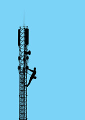 Silhouette of worker climbing on mobile telecommunication tower.