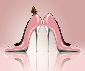 3d rendering of pink shoes with butterfly