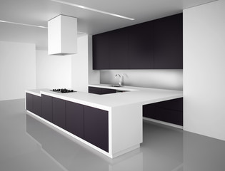 Contemporary minimal white and dark grey kitchenpurple