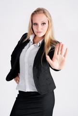 lady making stop gesture
