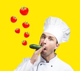 Chef blows bubbles
