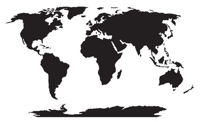 world map black silhouette vector