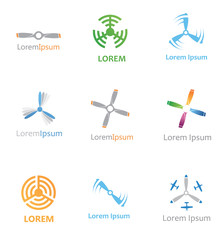 abstract aviation icons set  vector