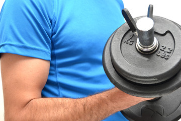Man with a dumbbell