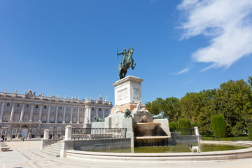fountain on the square near the Royal palace in Madrid, Spain