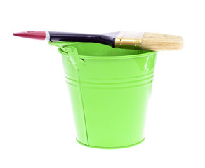 Paint Brush with Green Bucket Isolated on White Background