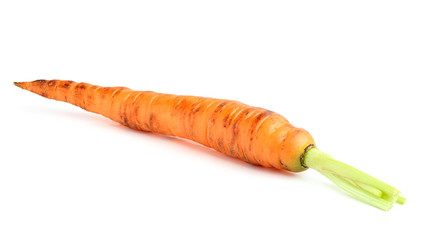 The isolated carrots on a white background.