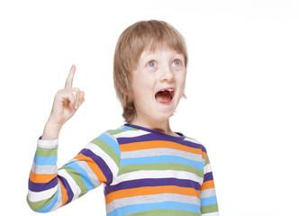 Boy Points up his Finger, Has an Idea