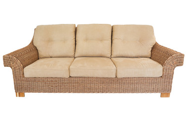 Modern straw sofa in retro style. On a white background.