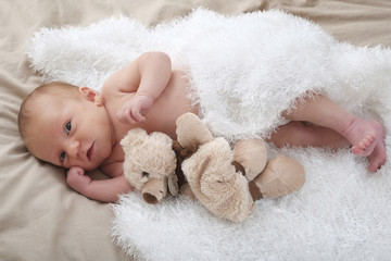 bébé et peluche