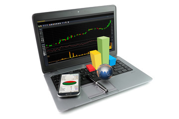 Laptop with financial items