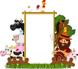 cute Farm Family with blank board