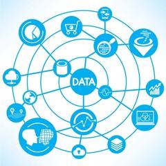 data analysis, blue connecting diagram