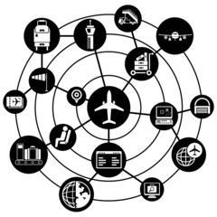 airport network background, connecting diagram