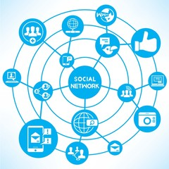 social network, blue connecting diagram