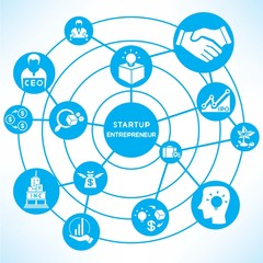 start up entrepreneur, blue connecting diagram