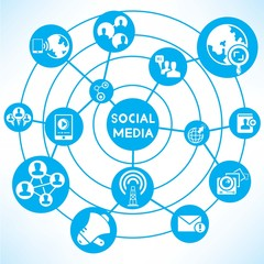 social media network, blue connecting diagram