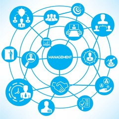 business management, blue connecting network