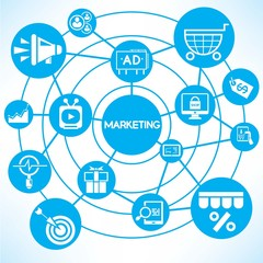 marketing, blue connecting network