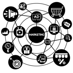 marketing, connecting network diagram