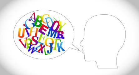 fumetto testa lettere, parlare