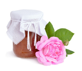 Pink roses jam isolated