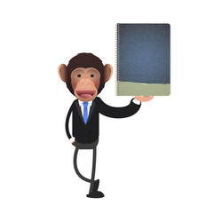 Business monkey holding a book over white background