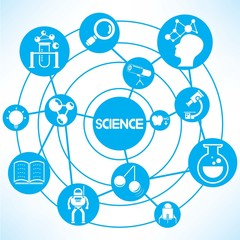 science, blue connecting network