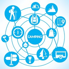 camping, blue connecting network