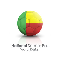 Soccer ball of Benin over white background