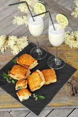 Spinach and vegetable pastry - Greek food with summer sorbet