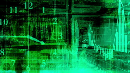 Green geometric graph money looping animated background