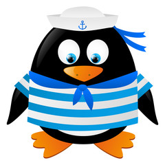 Cute penguin sailor isolated on white