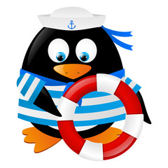 Cute penguin sailor with lifebuoy